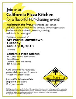 20% Give Back Night at California Pizza Kitchen!
