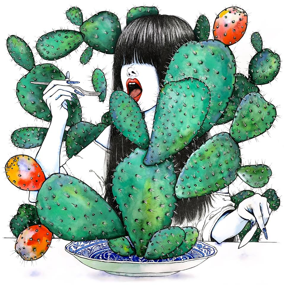 Naomi The Cactus Eater Watercolor and pen and ink 26x26