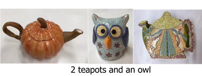 Ceramics 2 teapots and an owl